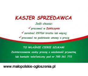 Kasjer - Sprzedawca ZAKLICZYN (pow. myślenicki)
